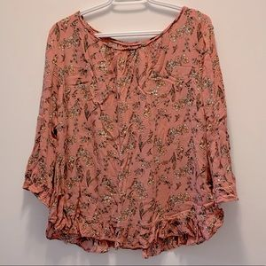 GAP Pink Floral Ruffle 3/4 leng Sleeve Top for Ladies size XL